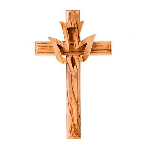 Olive wood crucifix with dove 1