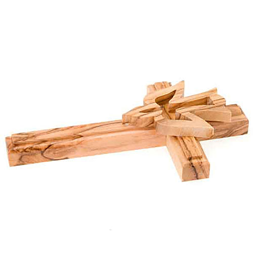 Olive wood crucifix with dove 3