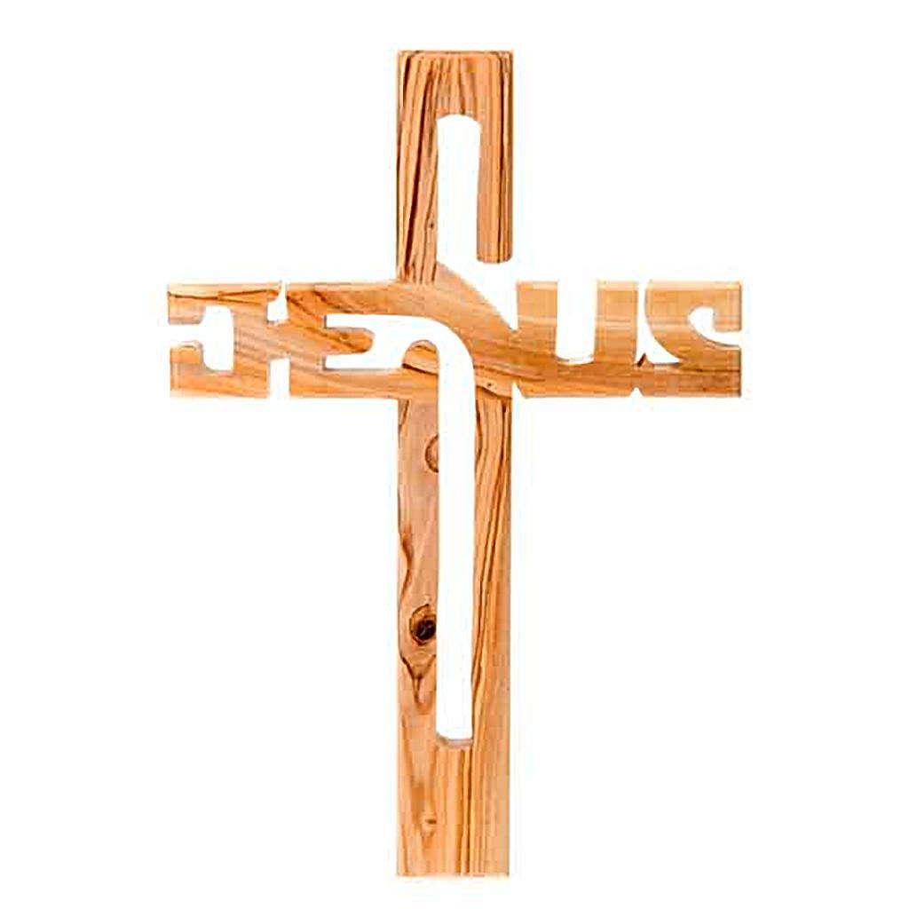 Crucifixo madeira oliveira Jesus 4
