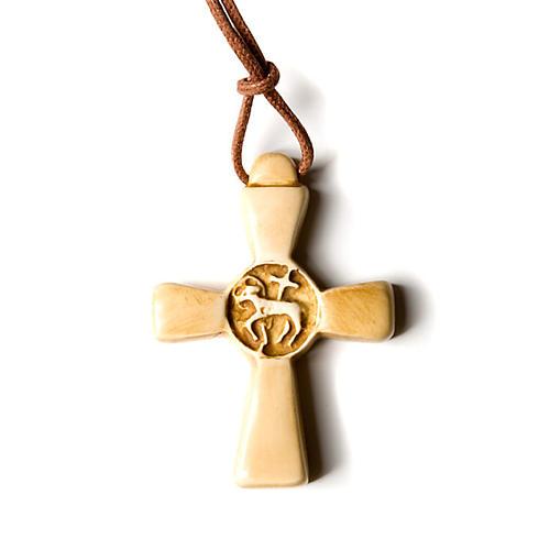 Wisiorek krzyż koloru kości słoniowej 3