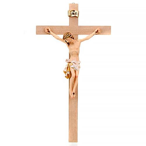 Crocefisso croce dritta veste bianca e oro 1