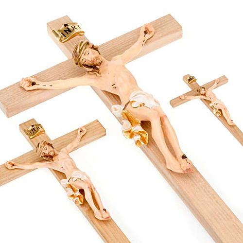 Crocefisso croce dritta veste bianca e oro 3