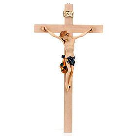 Crocefisso croce dritta veste blu e oro s1
