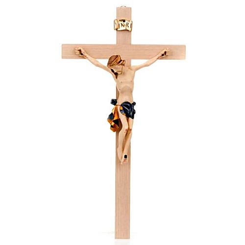 Crocefisso croce dritta veste blu e oro 1