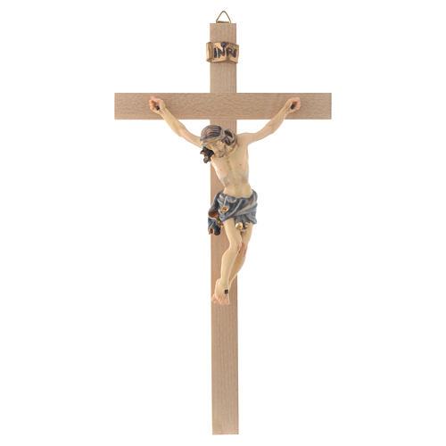 Crucifix croix droite Corps de Christ veste bleue 1