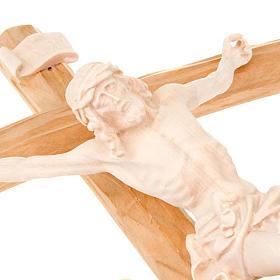 Crucifix croix courbée Corps du Christ bois naturel s2
