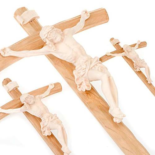 Crucifix croix courbée Corps du Christ bois naturel 3