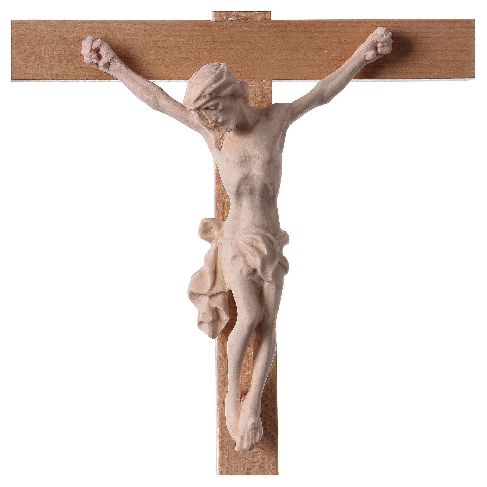 Crucifix croix droite Corps du Christ bois naturel 4