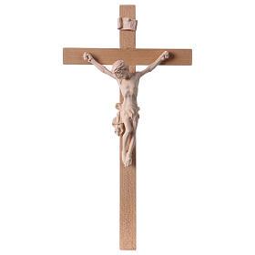 Crucifix croix droite Corps du Christ bois naturel s1