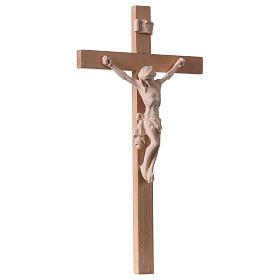 Crucifix croix droite Corps du Christ bois naturel s4