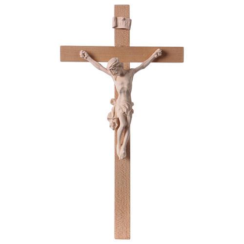 Crucifix croix droite Corps du Christ bois naturel 1