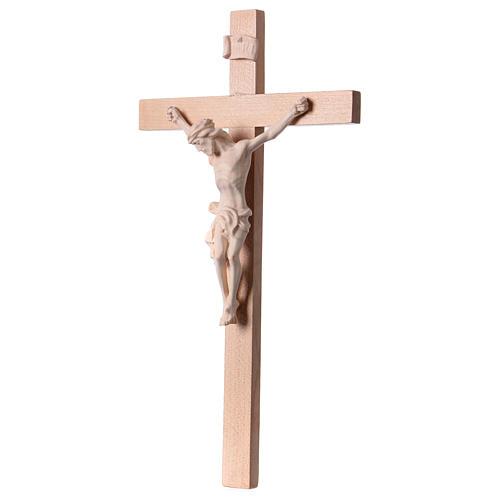 Crucifix croix droite Corps du Christ bois naturel 3
