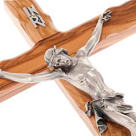 Modern crucifix in olive wood s4