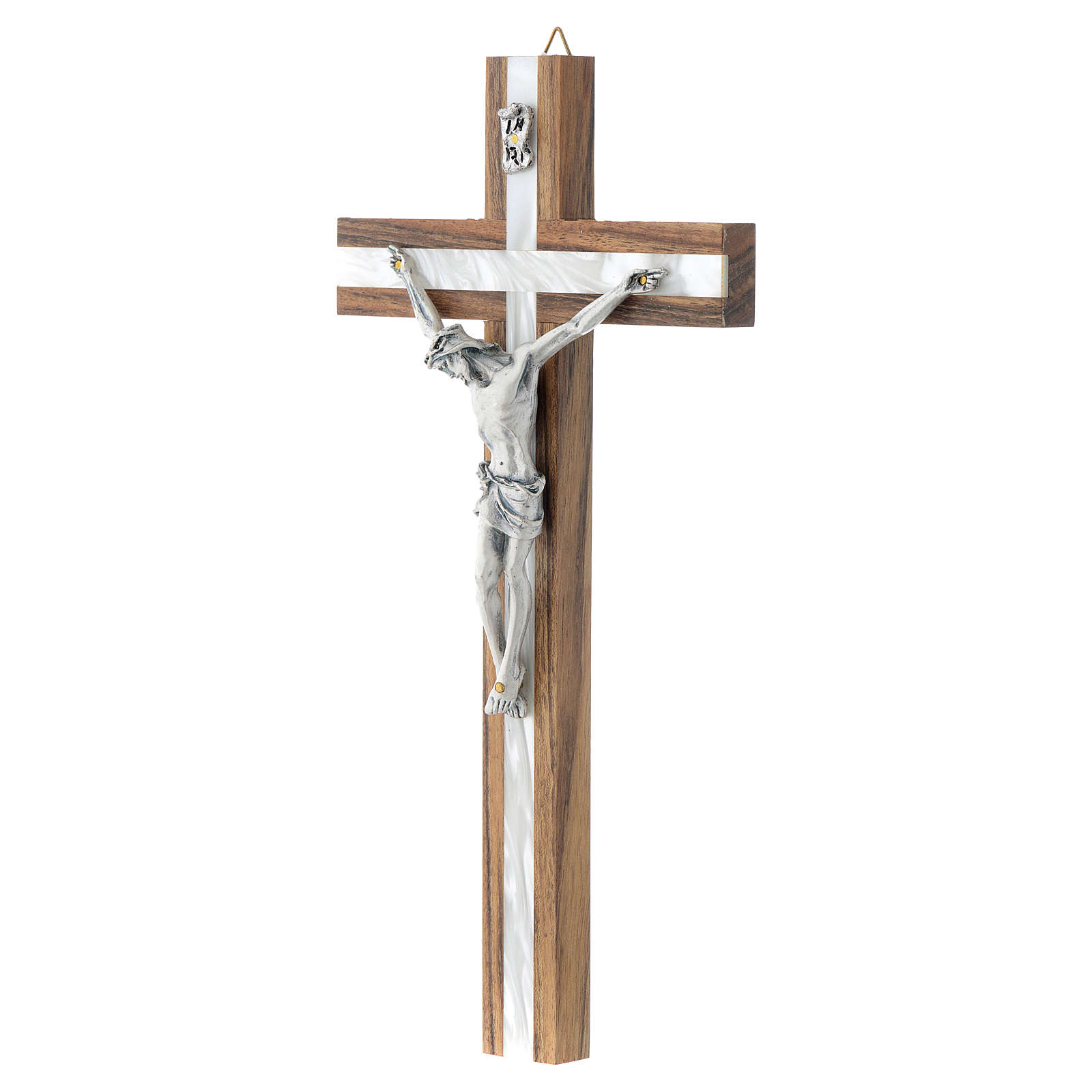 Wood crucifix with mother of pearl effect inlay 4