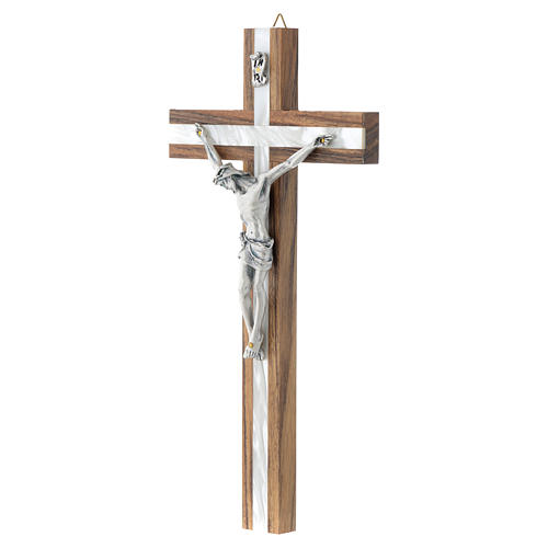 Wood crucifix with mother of pearl effect inlay 2
