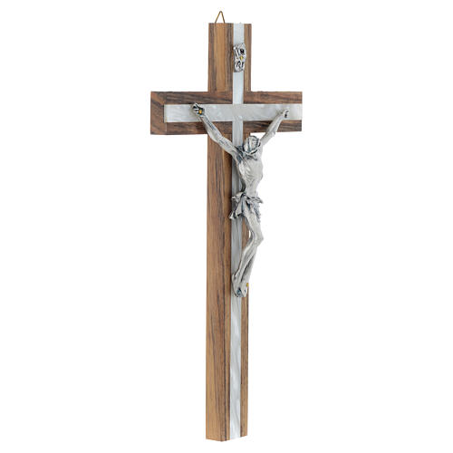 Wood crucifix with mother of pearl effect inlay 3
