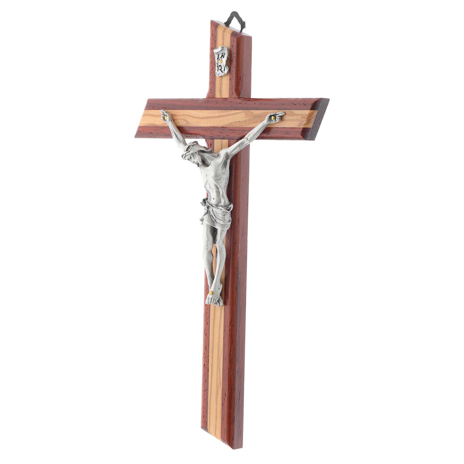 Crucifix in padauk and olive wood 4