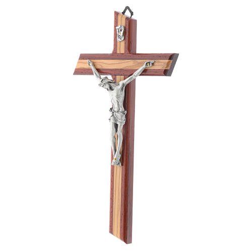 Crucifix in padauk and olive wood 2