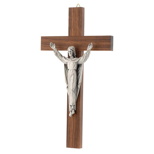 Wooden crucifix with risen Christ in metal 2