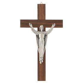 Wooden crucifix with risen Christ in metal s1