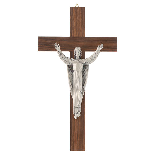 Wooden crucifix with risen Christ in metal 1