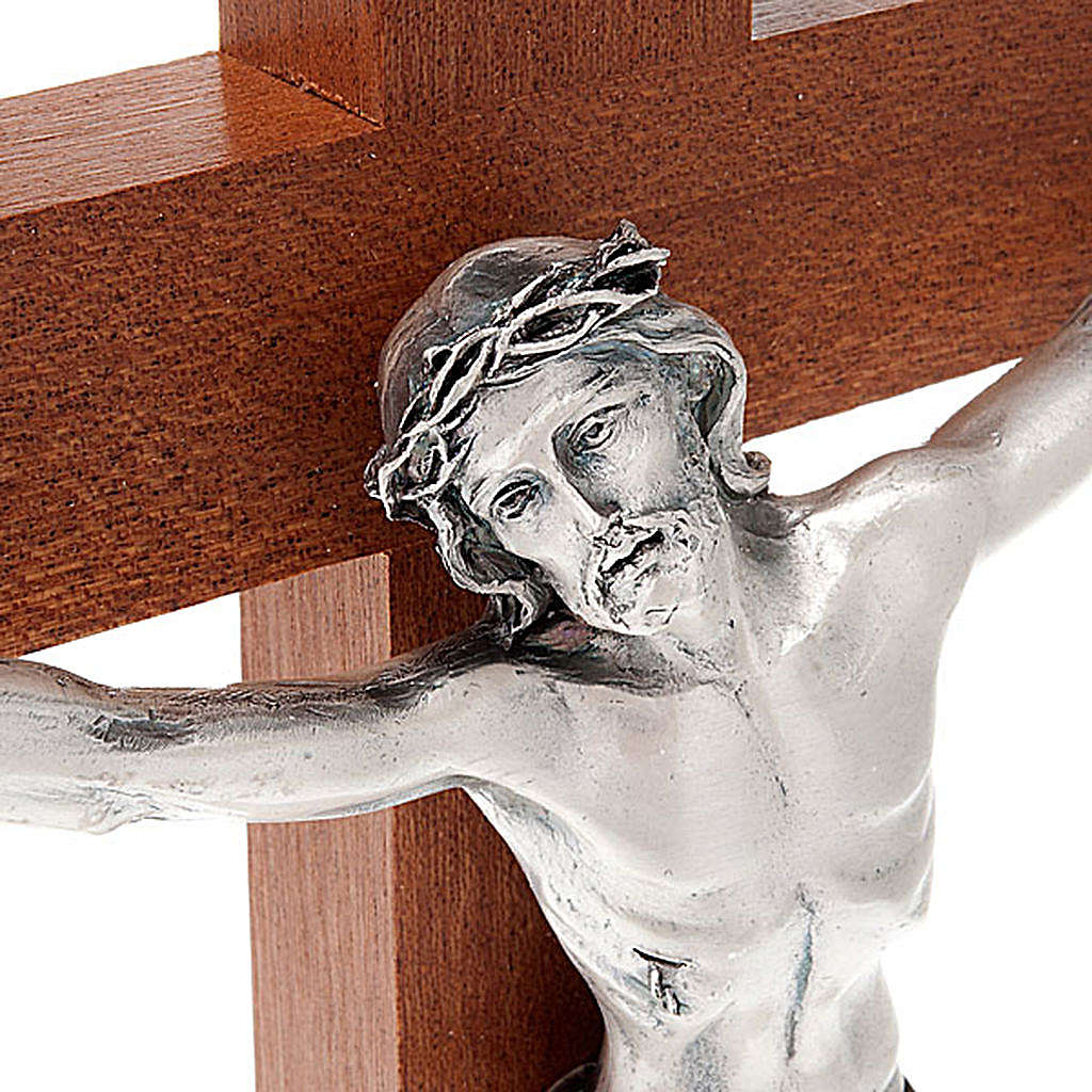 Crucifix in mahogany wood and body of Christ in metal 4