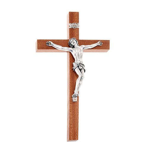 Crucifix in mahogany wood and body of Christ in metal 1