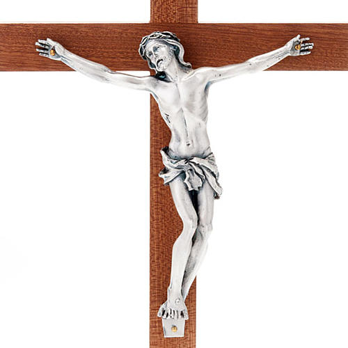 Crucifix in mahogany wood and body of Christ in metal 3
