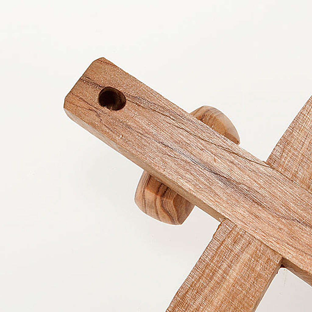 Holy Land Cross in natural olive wood, curved 4