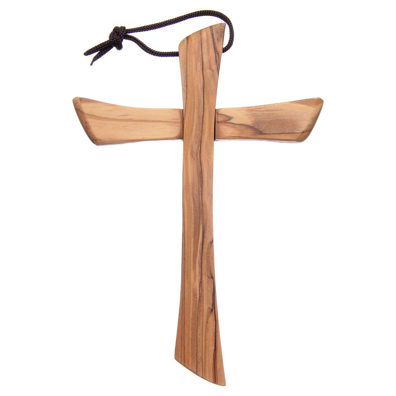 Croix terre sainte, bois d'olivier naturel bord arrondi 4