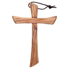 Croix terre sainte, bois d'olivier naturel bord arrondi s1