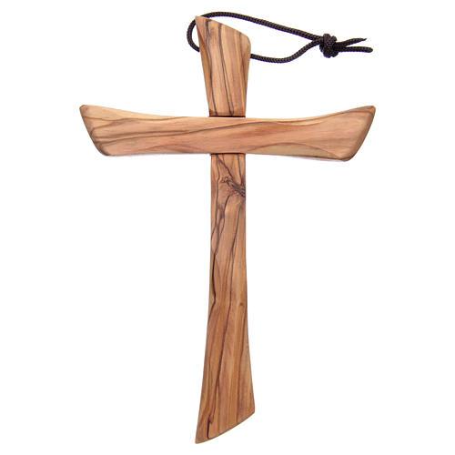 Croix terre sainte, bois d'olivier naturel bord arrondi 1