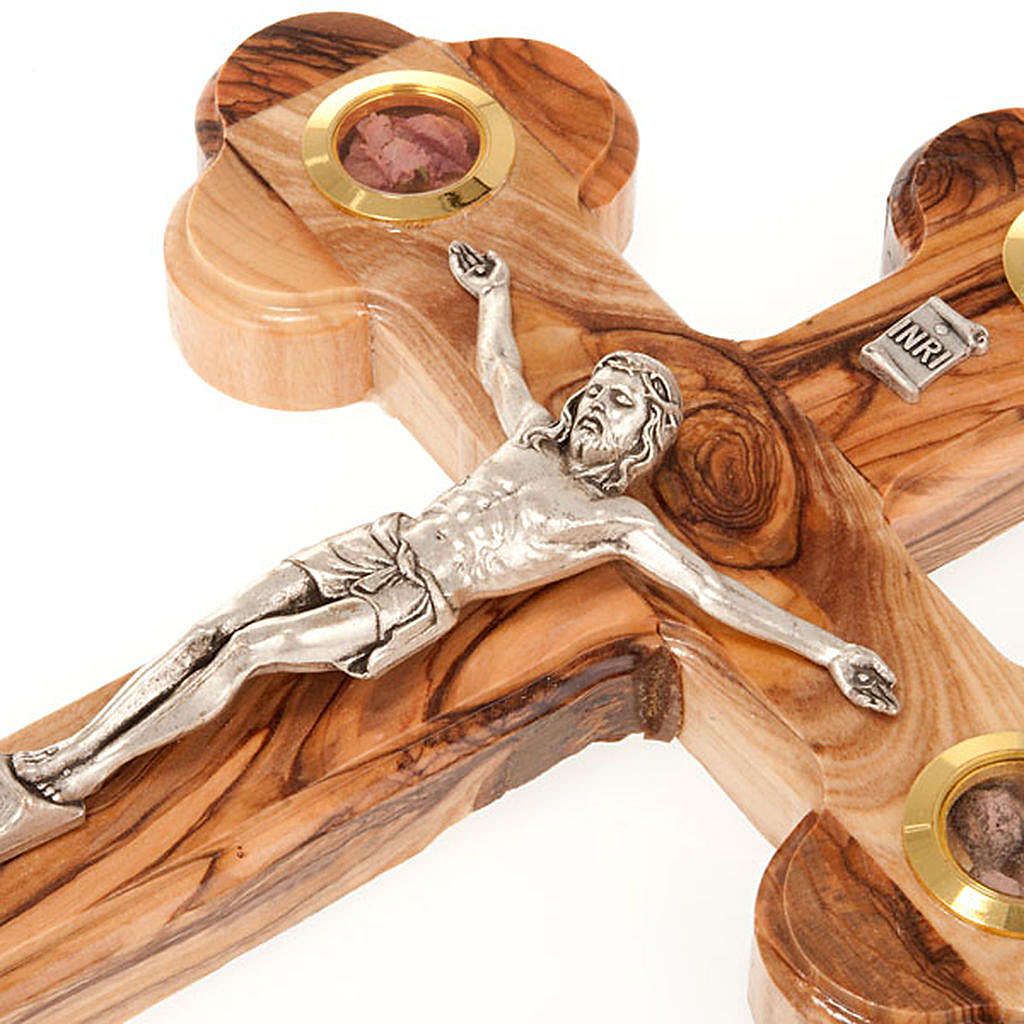 Trefoil cross crucifix in olive wood with relics 25x18 4