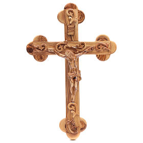 Holy Land Cross in natural olive wood, trefoil and decorated s1
