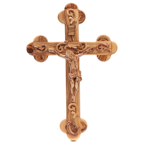 Holy Land Cross in natural olive wood, trefoil and decorated 1