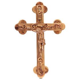 Crucifix terre sainte, bois d'olivier naturel décoré s1