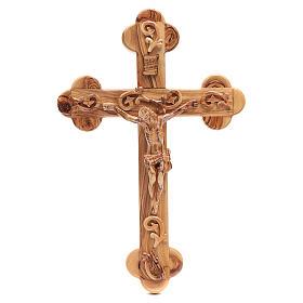 Croce Terrasanta ulivo naturale trilobata decorata s1