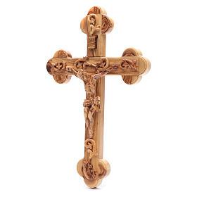Croce Terrasanta ulivo naturale trilobata decorata s2