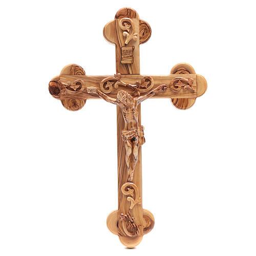 Croce Terrasanta ulivo naturale trilobata decorata 1