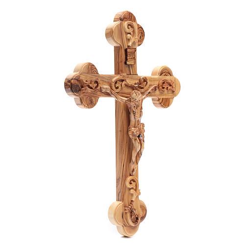 Croce Terrasanta ulivo naturale trilobata decorata 3