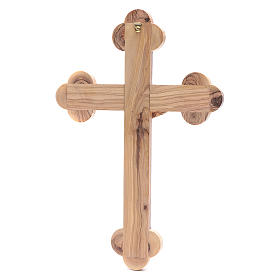 Holy Land Cross in natural olive wood, trefoil and decorated s4