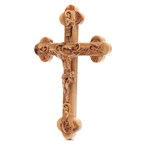 Holy Land Cross in natural olive wood, trefoil and decorated 2