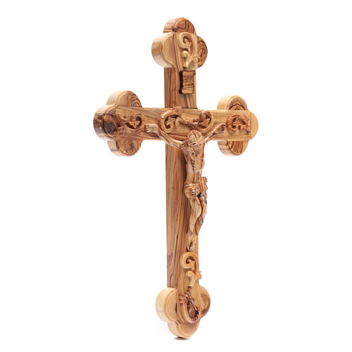 Holy Land Cross in natural olive wood, trefoil and decorated 3