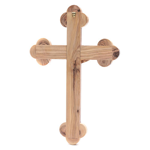 Holy Land Cross in natural olive wood, trefoil and decorated 4