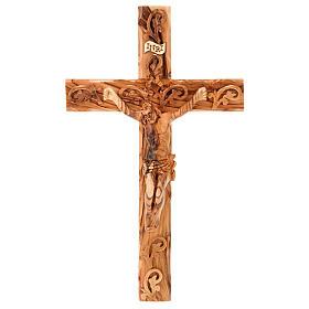 Croix decorée Terre Sainte en bois d'olivier naturel s1