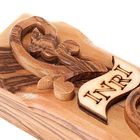 Croix decorée Terre Sainte en bois d'olivier naturel s4