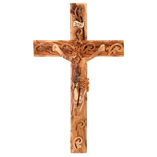 Croix decorée Terre Sainte en bois d'olivier naturel 1