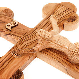 Trefoil cross in Holy Land olive wood s3