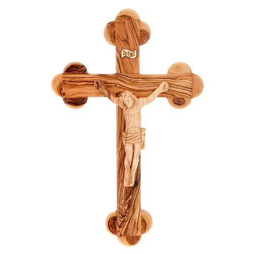 Trefoil cross in Holy Land olive wood 1