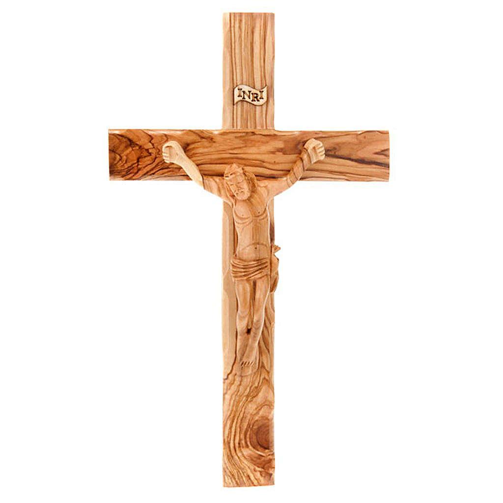 Croce Terrasanta ulivo naturale bordo ondulato 4